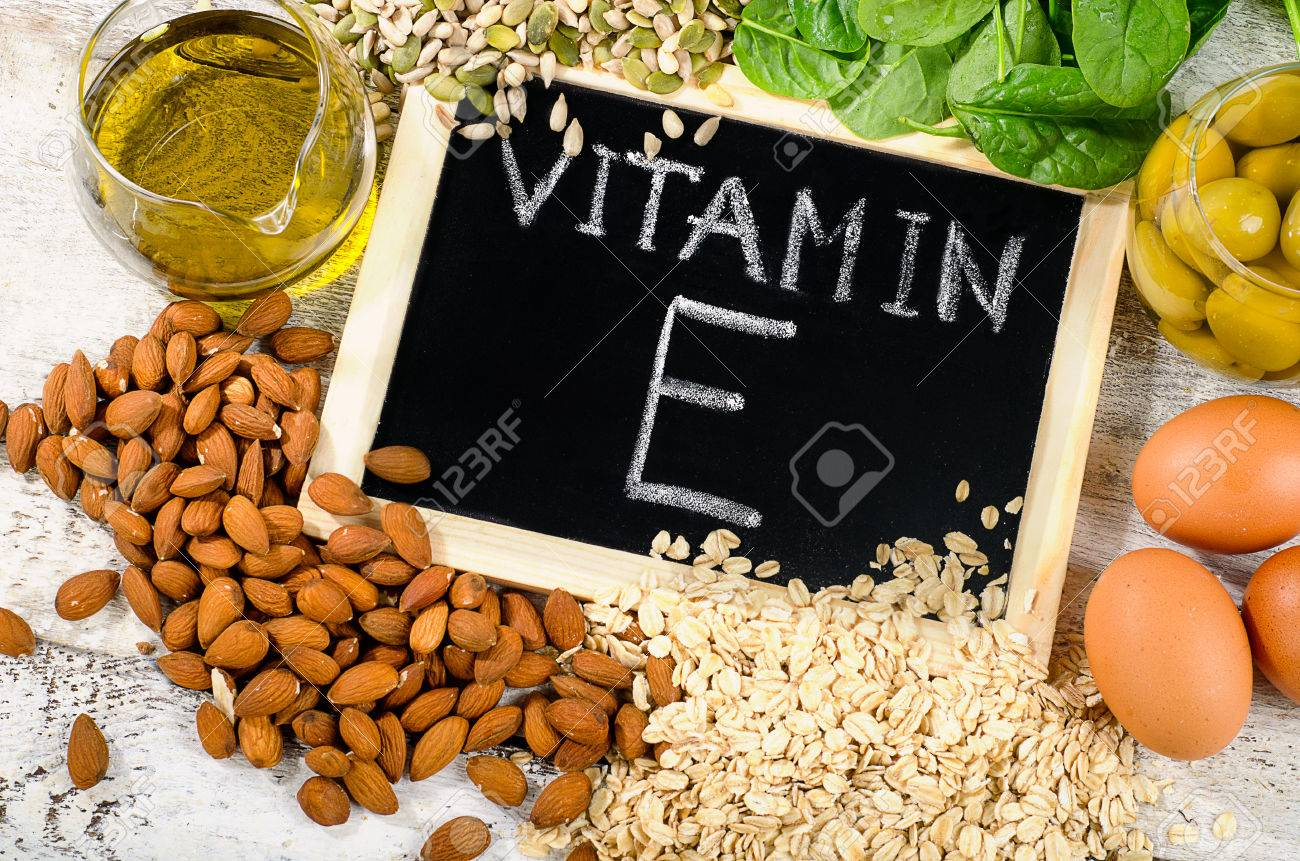 Foods high in a vitamin E. Flat lay